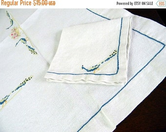 Table Cloth - Card Table Linen Embroidered Tablecloth with One Matching Napkin 8495