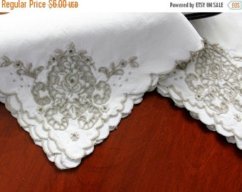 2 Bronze Embroidered Cutwork Dinner Napkins  -  Off White Linen 11482
