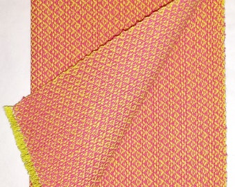 Handwoven Fingertip Towel hot pink on yellow
