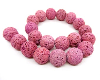 Pink Lava Beads Gemstone Dyed Round Beads Volcanic Gems 20mm- 4pcs
