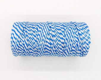Blue White Twisted Cotton Cord, Twisted Cotton String, Bakers Twine 1,5mm approx.- 10 yards / 30 feet approx.(1 piece)
