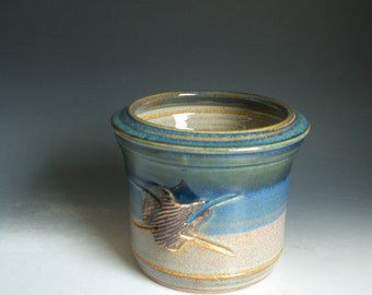 Hand thrown stoneware pottery kitchen utensil jar  (SJ-6)