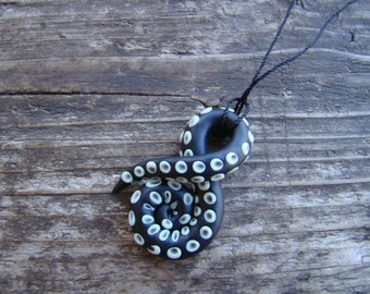 Black Tentacle with glow in the Dark Suction Cups Necklace