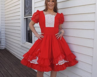 Red Square Dance Dress Vintage Country Western S M