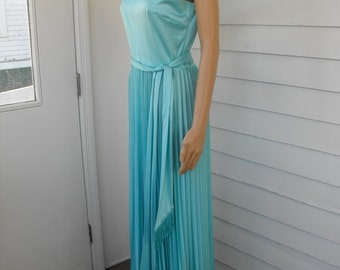 SHOP SALE 70s Blue Maxi Dress Pleated Ombre Shimmer Sleeveless Full Long and Jacket S M