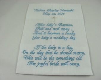 Baptism - Christening - Embroidered Handkerchief - Baptism Gift - Christening Gift - Simply Sweet Hankies