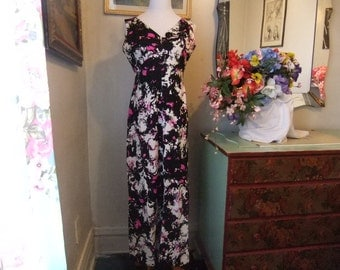 1970's Black,Pink and White Maxi Dress