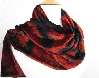Scarf Silk Velvet Large Size Burnt Orange and Purple