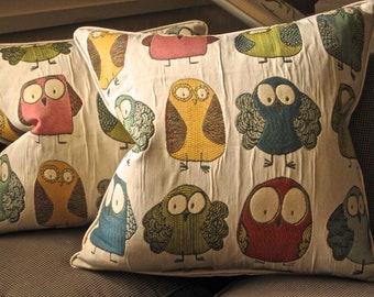 "BIRDS!  DODO Birds! I love this fabric  20 x 20"" Pillow Cover Beige Duck Piping Durable and Fun"