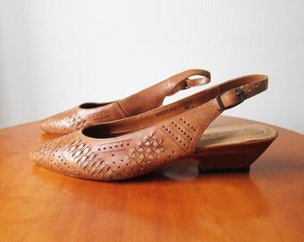 Vintage 1980s Shoes / Woven Slingbacks Heels Flats Made in Brazil / Size 9 Women