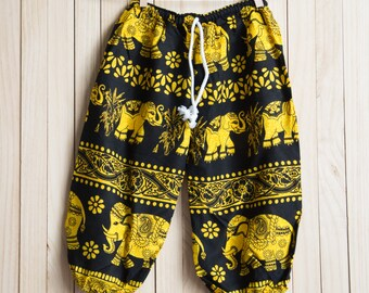 Kid's Yellow Elephant Printed Cotton Pants /Gypsy Pants/Aladdin Pants/Genie Pants/Yoga Pants /Thai Pants Size-M