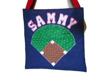 Baseball Crayon Tote, Personalized Art Bag, Library Book Bag, Preschool Bag, Kids Travel Bag, Sleepover Bag, Car Organizer, Beach Bag