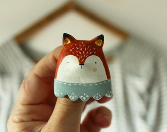 Fox brooch - wearable art - Clay animal pin brooch- Made to order