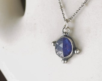 Rose Cut Sapphire Necklace Pendant, Sterling Silver Necklace Boho Style Jewelry