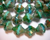 15 11x10mm Czech Glass Faceted Baroque Bicone Beads - Turquoise and Capri Blue Picasso