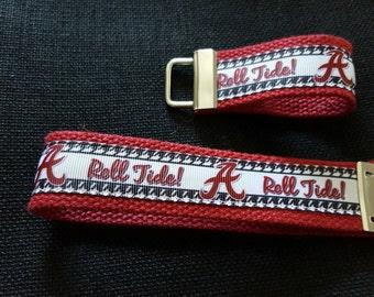 Roll Tide Key Fob / University of Alabama KeyChain / Bama Wristlet KeyFob / Crimson Tide Ribbon Key Fob Wristlet / Big AL Key Fob