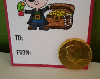 Valentine, you're a treasure - Set of 6 valentines with chocolate coins