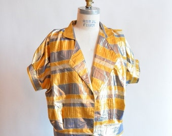 30% OFF STOREWIDE / SALE / Vintage 1980s metallic acetate blouse