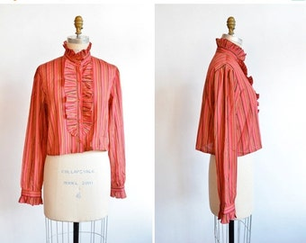 30% OFF STOREWIDE / Vintage 1970s ESPRIT ruffled blouse