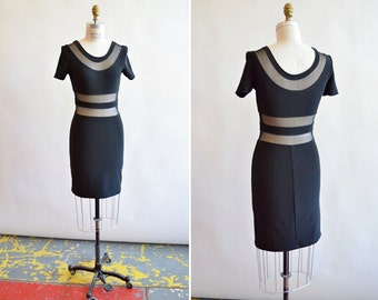 Vintage 1990s MESH bodycon black dress