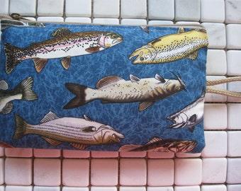 fish print large padded bag