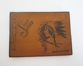 Vintage Snap Shot Photo Album Indian Leather Sueded Cardboard Cover Rawhide Tie
