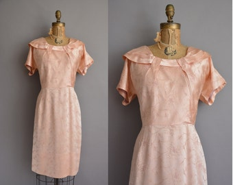 50s pink satin floral embroidered vintage dress / vintage 1950s dress