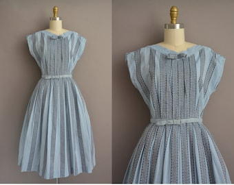 50s chambray cotton stripe vintage dress / vintage 1950s dress