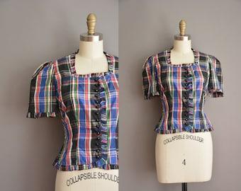 40s vintage plaid blouse / vintage 1940s blouse
