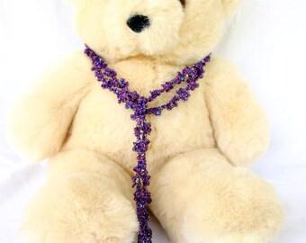 Crochet flower scarf decorative belt purple thin sparkly shimmery accessory sequins pretty shiny elegant delicate beautiful neckwear