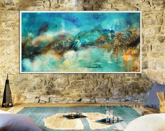 Abstract painting Blue Aqua Taupe Print, Aqua blue Painting, landscape print, aqua Blue Art Print,  blue abstract landscape, large canvas