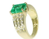 Valentines Sales Kutchinsky emerald ring yellow gold diamond Vintage designer ring thick band