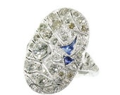 Valentines Sales Big Art Deco ring with diamonds and blue cabochon sapphires