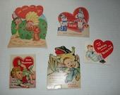 19)  Five Used Vintage Valentine Cards