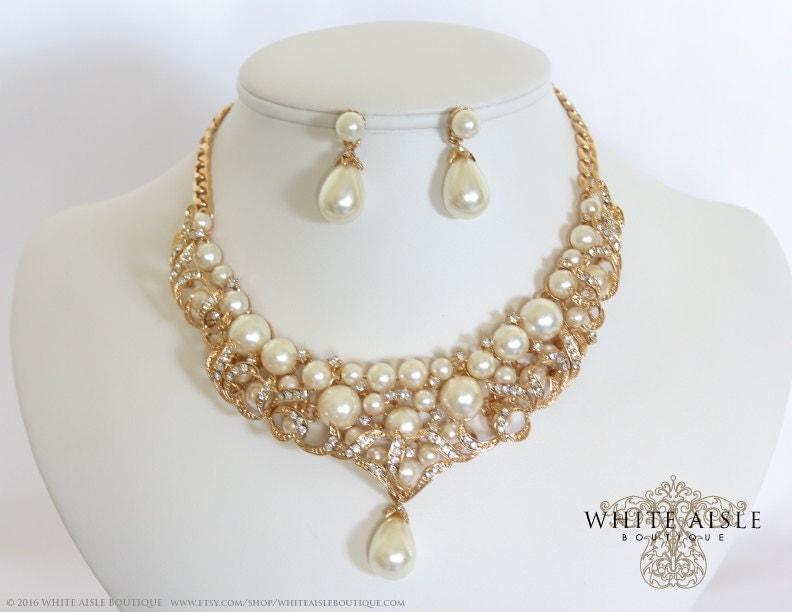 gold pearl wedding jewelry set vintage inspired bridal