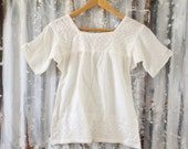Vintage 70's Deadstock Gauze Embroidered Top / Indian Cotton Tunic / Boho Hippie Women S