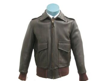 Vintage Genuine Brown Deerskin Bomber Jacket Men's 1960's  Custom Coat Company Berlin Wisconsin Will Fit Men's Size Small