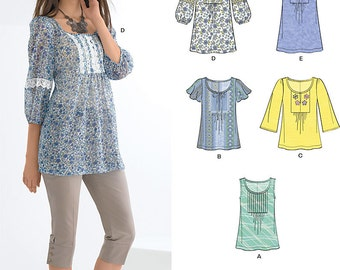 New Look Top Pattern 6027 -  Misses' Pullover Tunic Tops in Five Variations - Sz 10 to 22 - New Look Patterns - Uncut