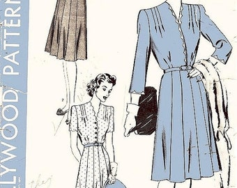 ON SALE Vintage 1930s 1940s Dress Sewing Pattern - Hollywood 1225 - Misses' One-Piece Dress and Belt - Sz 18/Bust 36""