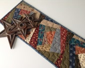 Wonky Log Cabins Quilted Tablerunner Civil War Era Fabrics