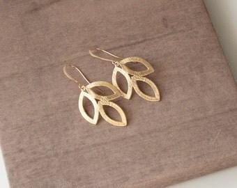 Gold Earrings,Marquis Earrings,Long Earrings,Delicate Earrings,Mothers Day,Mothers Day Gift