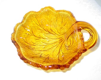 Vintage Amber Glass Leaf Candy Nut Jewelry Dish