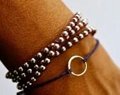 ON SALE Good Karma bracelet. Sterling silver circle bracelet. Irish linen cord