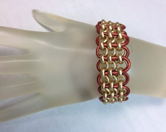 Gold and Dark Copper Leather Bracelet .75 Inches Wide, Adjustable Bracelet Fits Wrist Size of 5.75 Inches to 7 Inches, One of A Kind