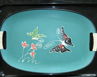 Vintage GIFTWOOD Wood Tray with Colorful Butterflies