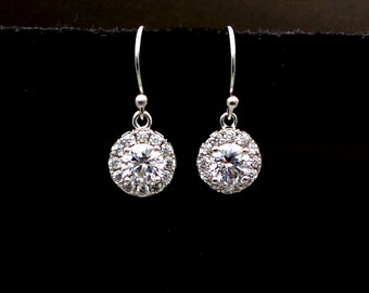 STERLING SILVER Bridal jewelry Simple bridal earrings wedding earrings wedding jewelry clear white round 9mm cubic zirconia halo drop hook