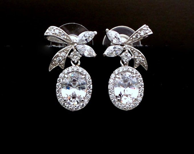 Bridal wedding earrings bridesmaid gift oval halo cubic zirconia drop with STERLING SILVER bow ribbon post rhodium earrings cubic zirconia