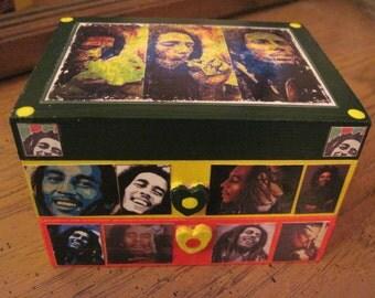 Bob Marley Small Handmade Wooden Decoupage Jewelry Keepsake Box