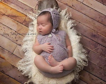 Knitted baby bonnet, Newborn Baby Bonnet, Asymetrical Lavender Bonnet, Romper, Alpaca yarn, Newborn Photo Shoot Prop by Cream of the Prop
