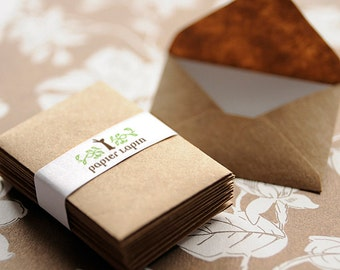 Mini kraft paper envelopes / set of 50 / super cute, great for wedding reception and party